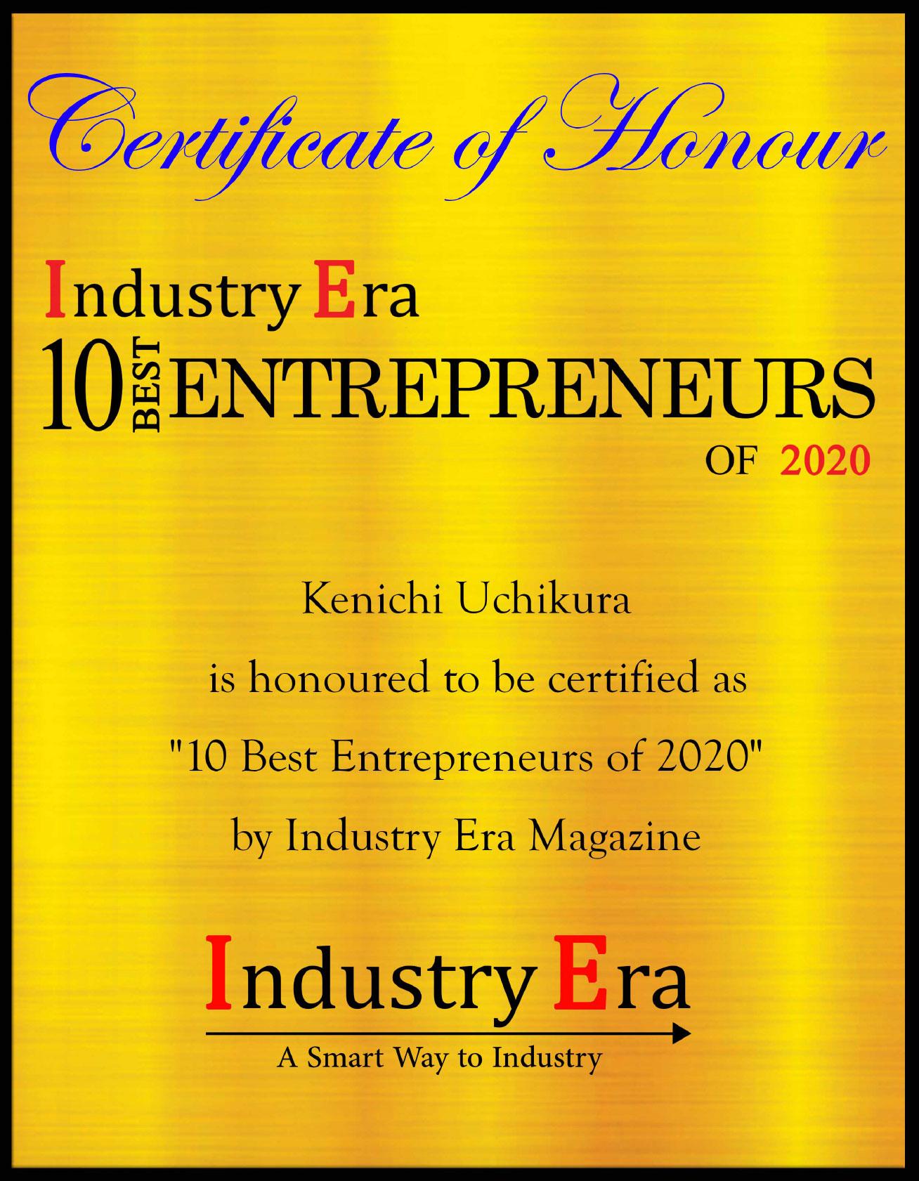 Kenichi Uchikura - Top 10 Entrepreneur of 2020