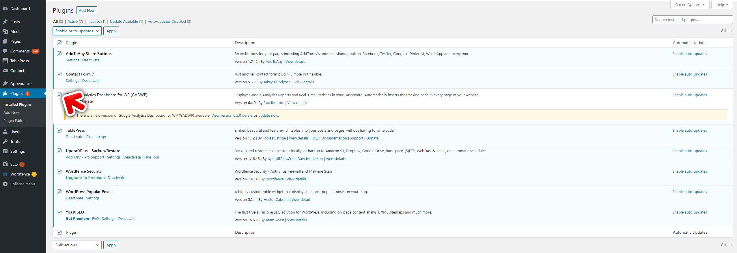 Updating WordPress plugins select checkbox