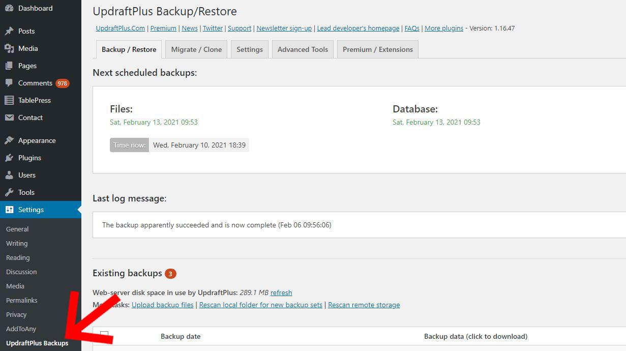 UpdraftPlus WordPress settings screen
