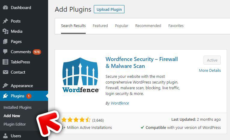 WordPress install Wordfence