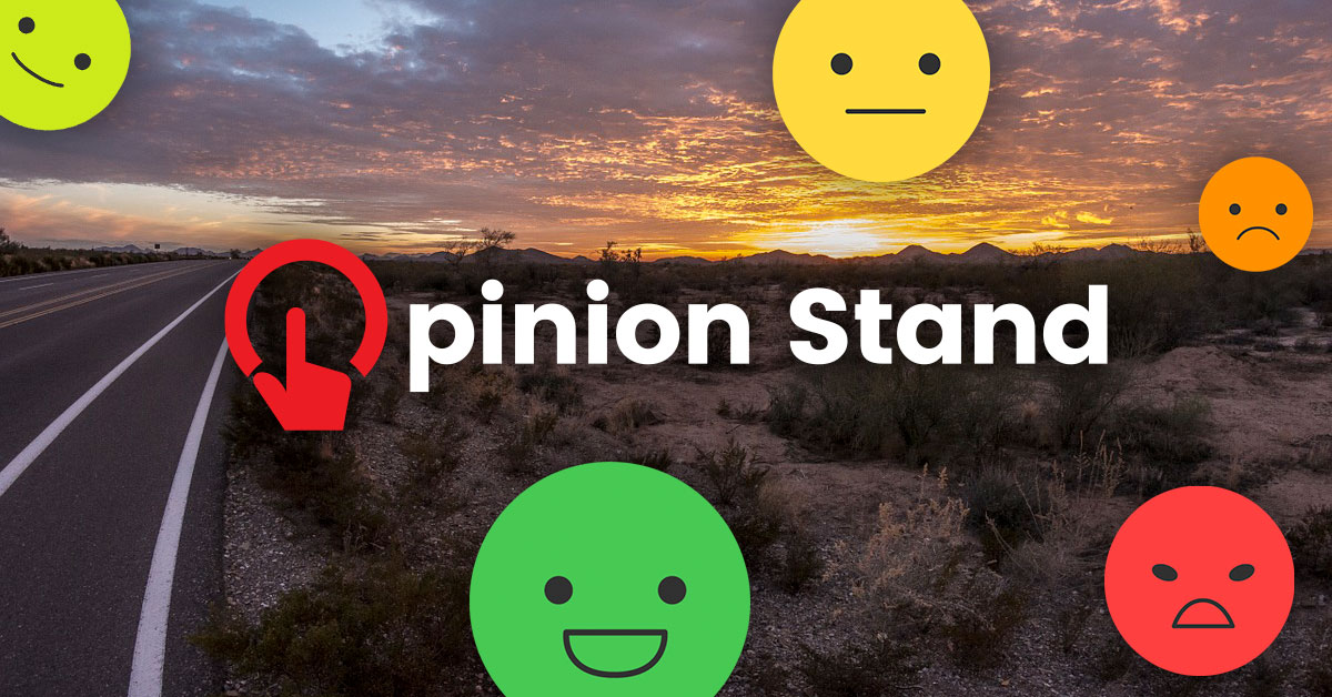 Opinion Stand logo with Arizona background
