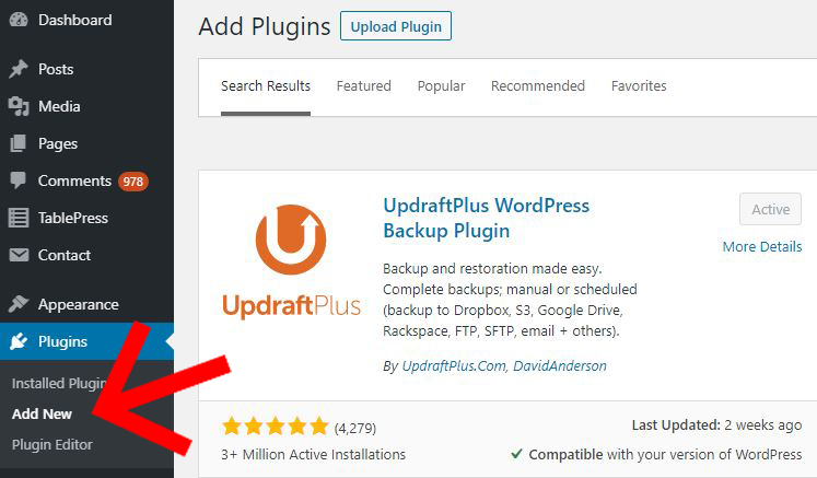 UpdraftPlus WordPress plugin install