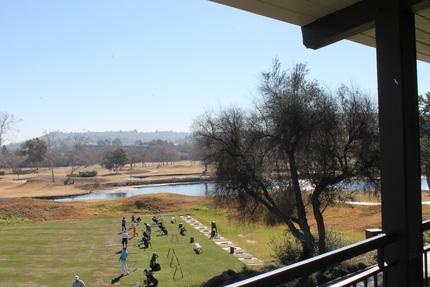 貴重な天然芝から打てるゴルフ練...
