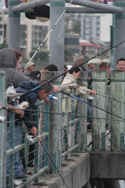 桟橋で釣りをする人々