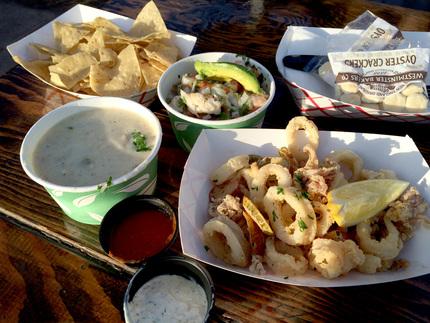 Calamari, Clam Chowder, Ceviche