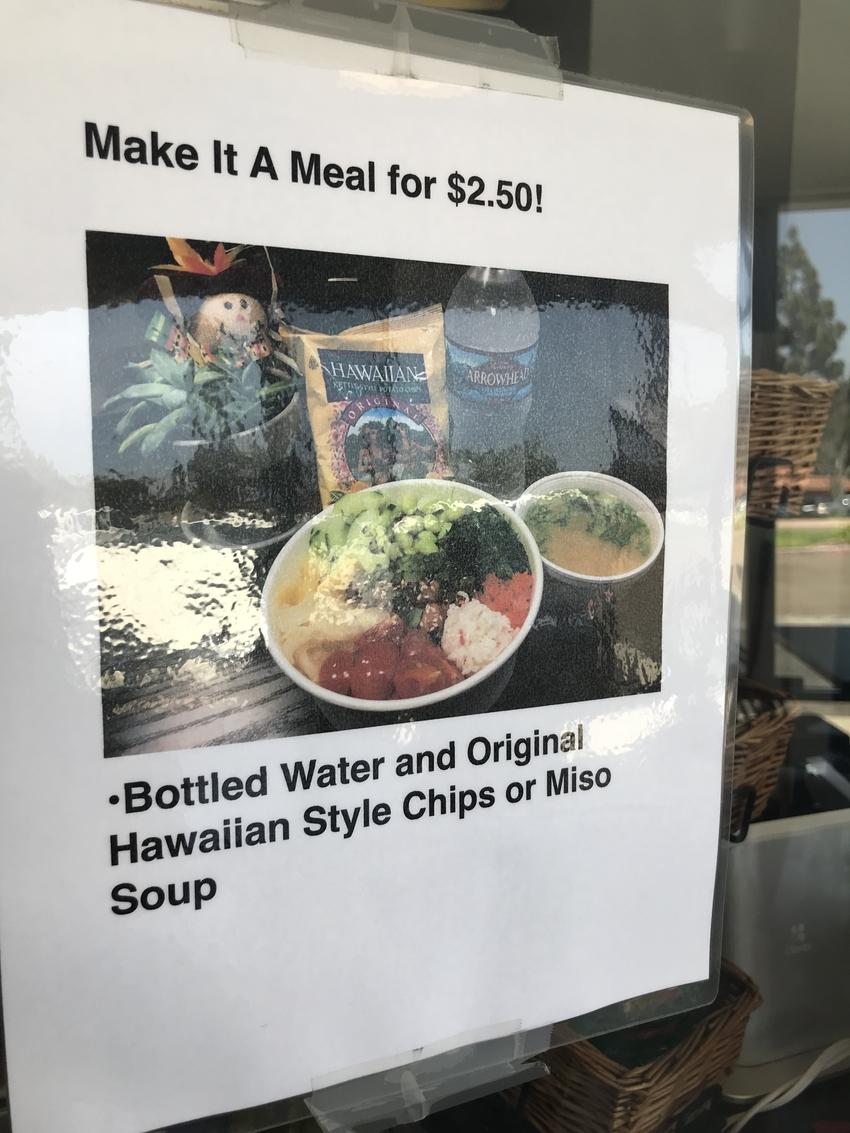 プラス$2.50で水、ポテトチ...