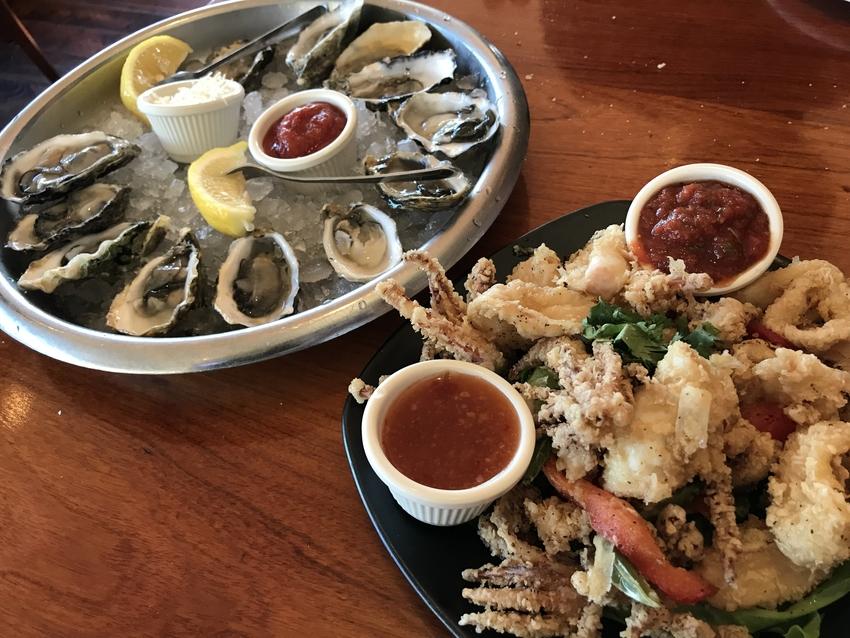 生牡蠣とカラマリフライ