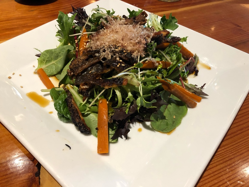 Grilled Salmon Skin Salad