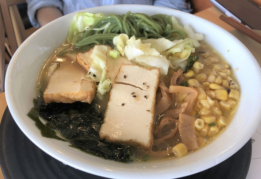 Vegan Ramen with kale noodles