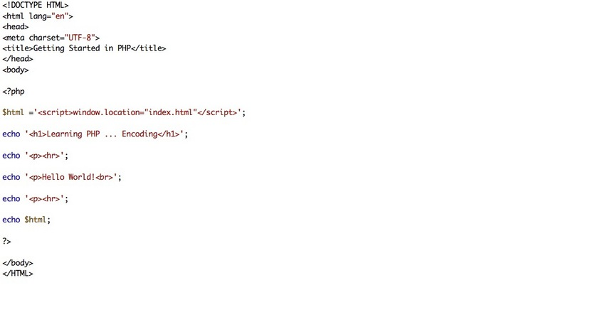 PHP File to encode index.html