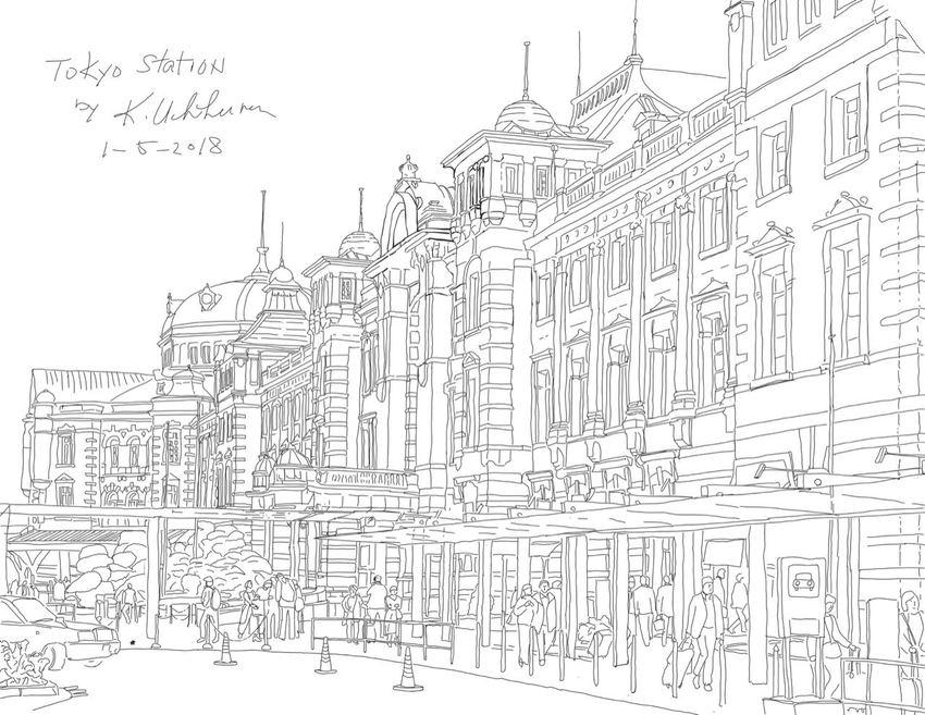 Tokyo Station Line Art Finished...