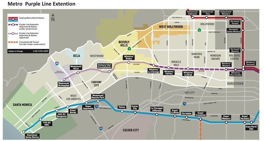 ロサンゼルスMetroの延伸で...