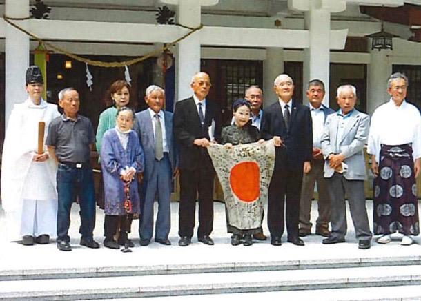 宮崎県護国神社での日章旗返還式...