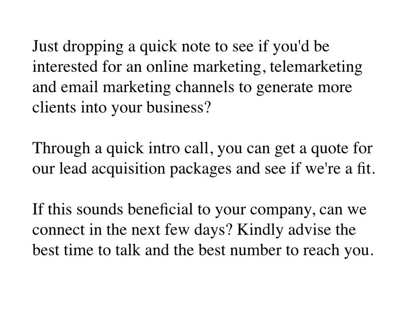 Dear Marketing Professionals