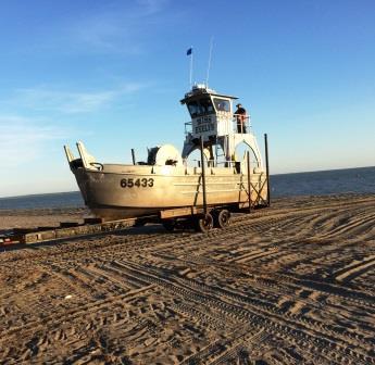 Drift boat on the beach