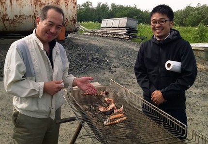 Visiting customers grill Yukon...
