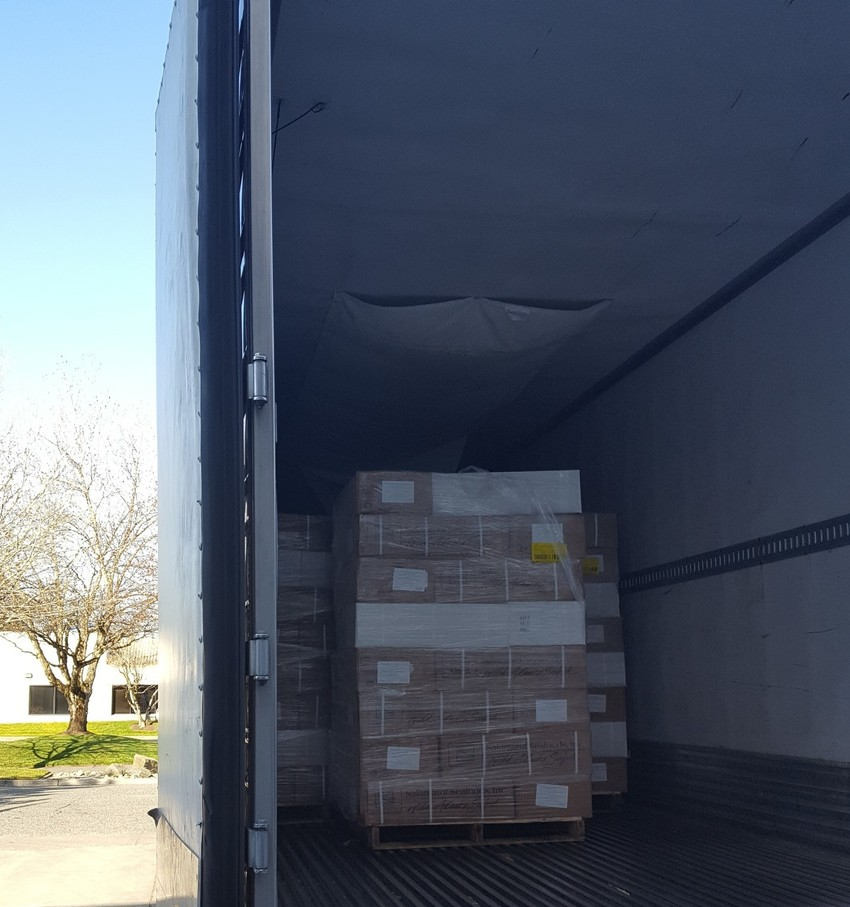 A nearly full, 40' container wi...