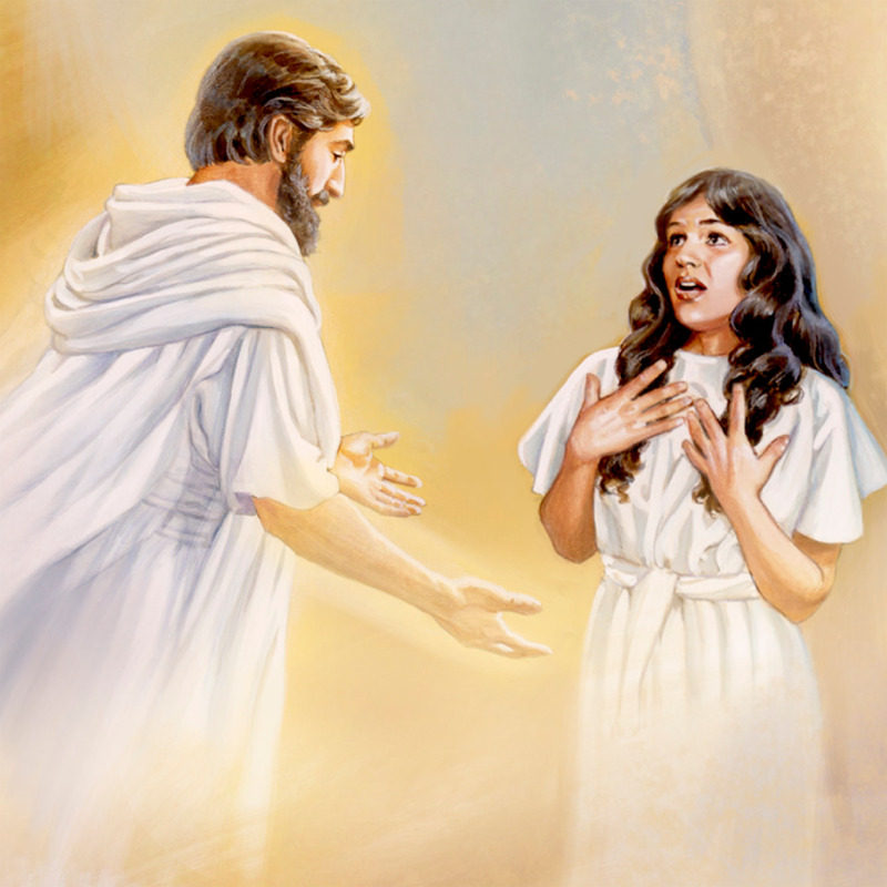 マリアに天使が現れて、受胎告知...