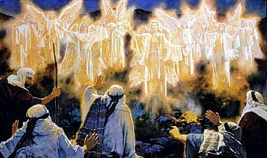 羊飼いは野で夜番中、天使が現れ...